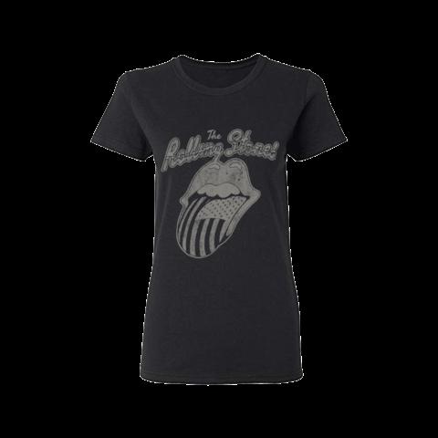 √Black & White USA Script von The Rolling Stones - Girlie Shirt jetzt im Rolling Stones Shop